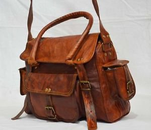 Real leather brown messenger bag women's ladies briefcase purse handmade bag