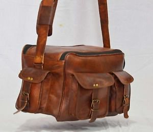 Men's Real leather shoulder satchel vintage brown messenger camera men's bag