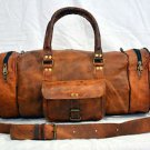 Men's leather messenger brown goat hide luggage travel bag genuine briefcase