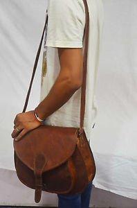 Woman's vintage-leather-messenger-purse-brown-satchel brown handmade bag