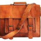 "17""Real soft leather messenger genuine briefcase brown laptop bag satchel bag"