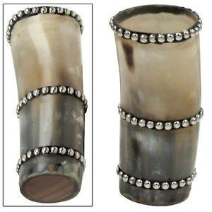 Amazing Medieval Renaissance Stud Decorated Genuine Horn Tumbler Mug Cup
