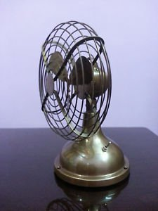 "Vintage Nautical Oscillating Table Fan Collectible in Brass 6"" Antique F"