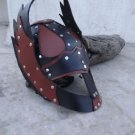 Vintage Medieval Viking Barbarian Leather Helmet  costume plays larp Hal