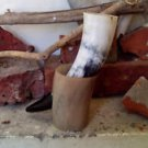 """(09.01) Baby Horn 6-8"""" with horn stand Viking drinking horn beer wine pagan ale"""