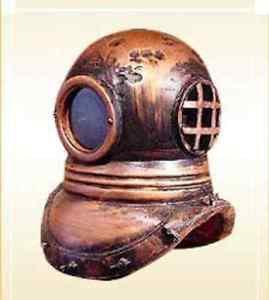 "Antique 18"" Divers Helmet Copper Brass Diver's Helmet Collectible Nautic"