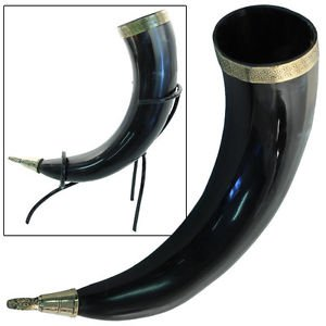 Viking Drinking Horn brass decore with Metal  stand for Pagan Rituals