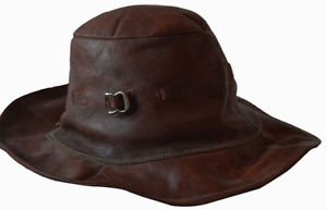 Vintage beautiful stylish authentic genuine leather hat fall hat gift fo
