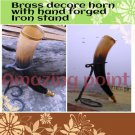 Amazing  19 inch Viking Drinking Horn with Hand Forged Iron stand  rernactment