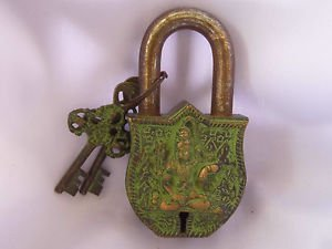 Antique 50ys+ old solid  brass  Lock with two keys  collectible for ,historical