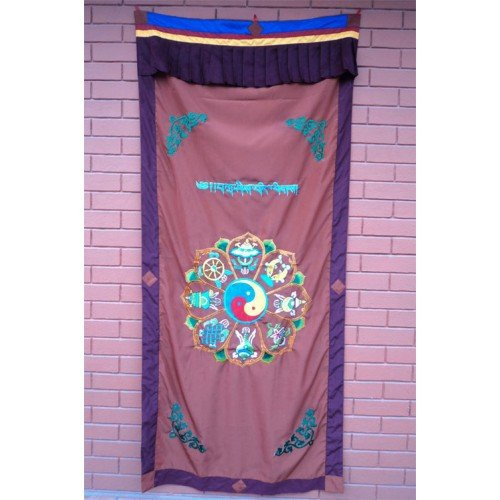 Astamangal Symbol with Ying-Yang Embroidery Brown