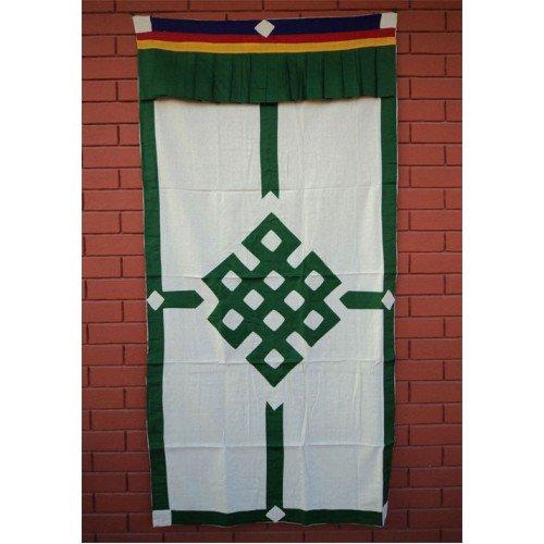 Green Endless Knot Patch Tibetan Cotton Door Curtains