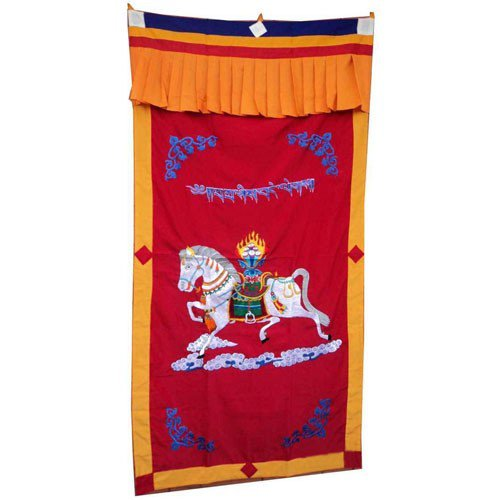 Red-1WindHorse Embroidery Tibetan Buddhist SpunSilk Door Curtain NEPAL
