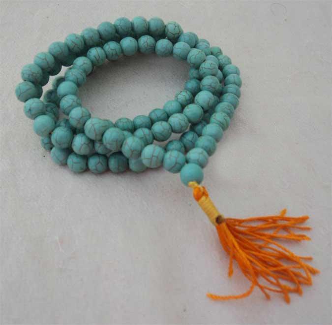 Turquoise 108 Beads Meditation Prayer Mala,NEPAL
