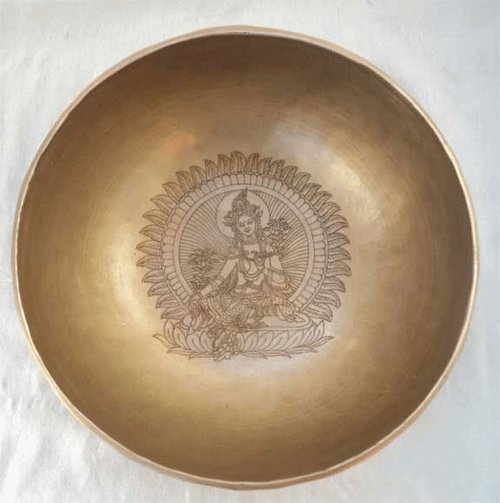"Green Tara Carved Hammered Singing Bowl 8.6"" diameter,NEPAL"