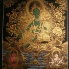 "Green Tara Handpainte​d Thangka Painting(16""x22"")"
