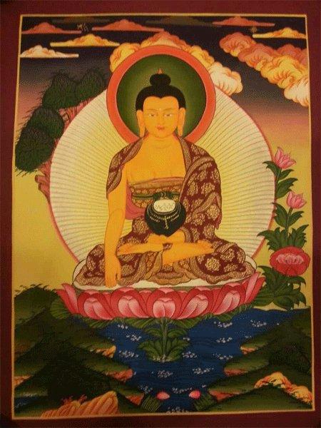 """Shakya Muni Buddha Handpainte�d Thangka Painting(11""""x15"""""""