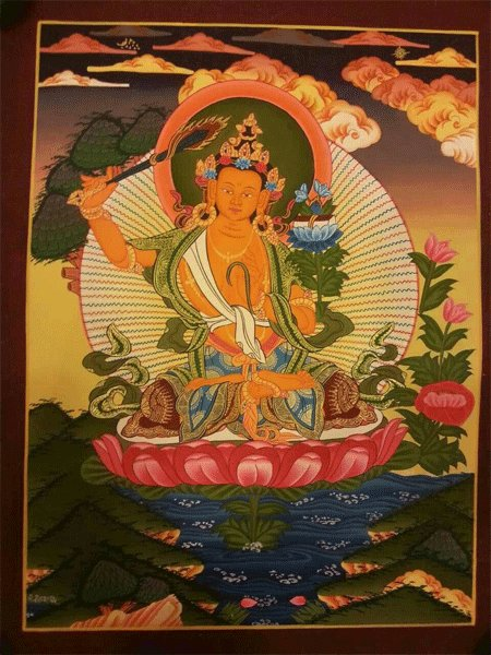 "Manjushree Handpainte�d Thangka Painting(11""x15"")"