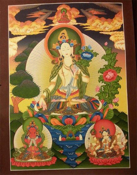 """White Tara Handpainte�d Thangka Painting(18""""x24"""")"""