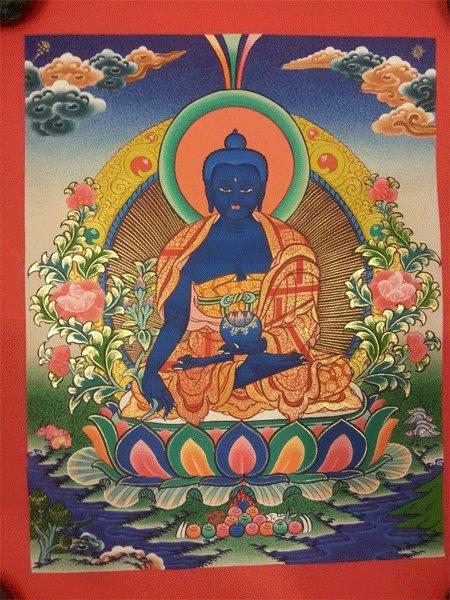 "Medicine Buddha Handpainte�d Thangka Painting(11""x15"")"