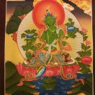 "Green Tara Handpainte​d Thangka Painting(11""x15"")"