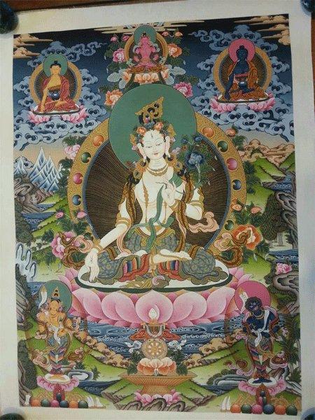 """White Tara Handpainte�d Thangka Painting(16""""x22"""")-II"""