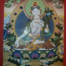 "White Tara Handpainte​d Thangka Painting(18""x24"")"