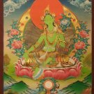 "Green Tara  Handpainte​d Thangka Painting(16.5""x22.5"")"