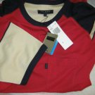 Ted Baker London Destino red navy beige cotton tee shirt sz 4 L NWT s/sleeve