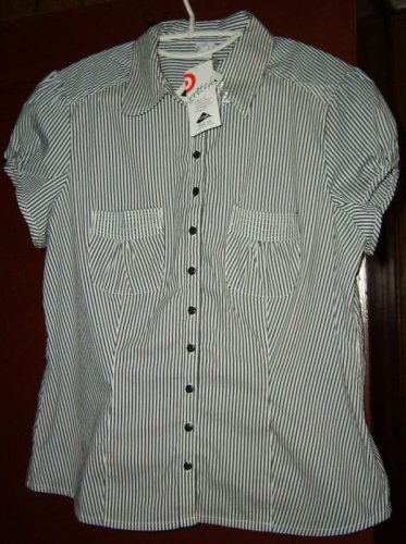 Black white striped capped sleeve blouse 14 NWT Target