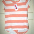 Soffe peach white stripe 100% cotton t top girl's M 8-10 NWOT short sleeve