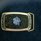 "Mosaic beaded MOP Rose black & gold tone brass belt buckle NEW 3"" x 1.75"""
