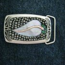 "Mosaic beaded MOP Leaf silver tone brass belt buckle NEW 3"" x 1.75"""