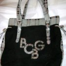 "BCBGirls gray black red plaid corduroy large tote bag purse 12"" x 14"""