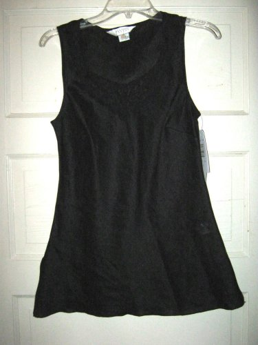 Allison Taylor black linen scoop neck tunic tank shirt top S NWT lace accent