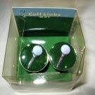 Golf Ball on tee green enamel silver tone round cufflinks cuff links