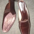 "Nordstrom brown leather slide mule 2.5"" heel 8 N MINT"