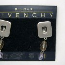 "Givenchy pewter tone Swarovski crystal 1.5"" drop clip earrings MINT signed!"