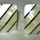 "MOP Mother of Pearl inlay rectangle clip earrings 1"" x 1.25"""