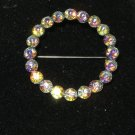"Aurora Rhinestone 1.5"" circle pin brooch MINT!"
