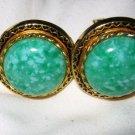 """VTG Green fleck lucite gold tone 1"""" round cufflinks cuff links"""