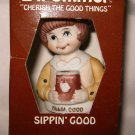 1984 Hersey Sippin' Good L'il Chimer Bell Ornament NOS w/box hand paint porcelin