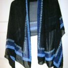 "YBL Your Best Look sheer black long scarf wrap shawl sarong MINT 58"" x 30"""