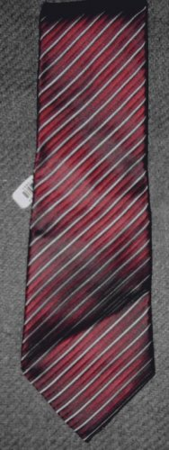 "Burma Bibas burgundy gray silk striped 4"" blade tie NWT"