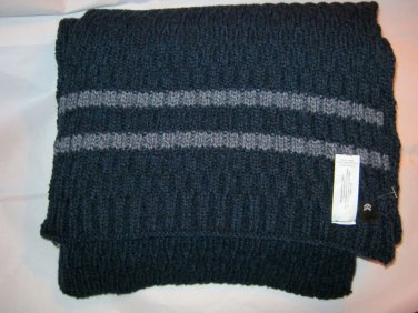 Aris navy gray acrylic bld cable knit long neck scarf