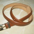 "Liz Claiborne brown leather skinny belt L 35"" x  3/4""  gold tone hook buckle"