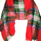 "VTG Baar Beards red plaid Mohair Wool long scarf wrap shawl MINT 68"" x 19"" Japan"