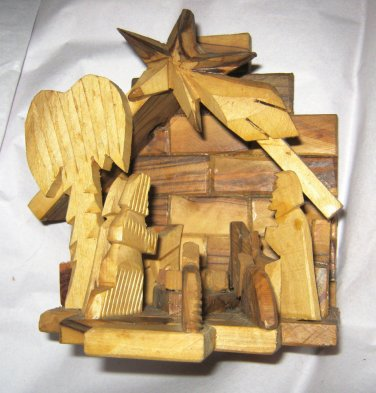 "VTG Olive Wood Stable Nativity Scene Creche  5.5"" x 5.5"" Hand Carved"