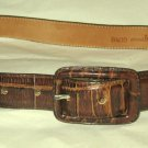 "VTG Anna Bella Another Line brown moc croc leather belt S 30"" x 1 1/8"" EC USA"