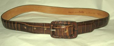 "VTG Anna Bella Another Line brown moc croc leather belt S 30"" x 1 1/8"" EC USA"